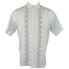 Issey Miyake Men's White Cotton Plaid Stripe Short Sleeve Shirt