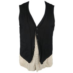 Ann Demeulemeester Men's Black and Beige Striped Shirt Layered Vest