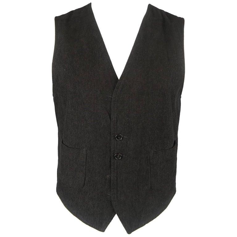 Ann Demeulemeester Men's Black Corduroy and Beige Striped Cotton Reversible Vest