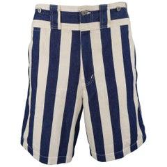 Issey Miyake Men's Beige and Navy Stripe Cotton Sailor Button Shorts
