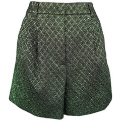Dolce & Gabbana Green Plaid Glitter Lurex Pleated Short Shorts