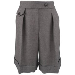 Philosophy di Alberta Ferretti Gray Wool Pleated Bermuda Shorts