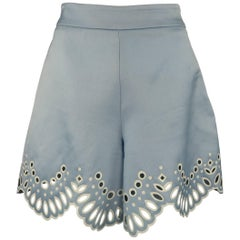 Oscar De La Renta Light Blue Silk Wool Cutout Scalloped Shorts