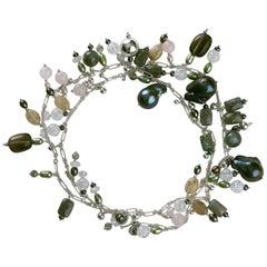 Cultured Black Baroque Pearl Multicolored Opera Drop Necklace by Rock Lily