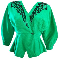 Vintage Emanuel Ungaro Kelly Green and Black Gorgeous Beaded Silk Moire Jacket