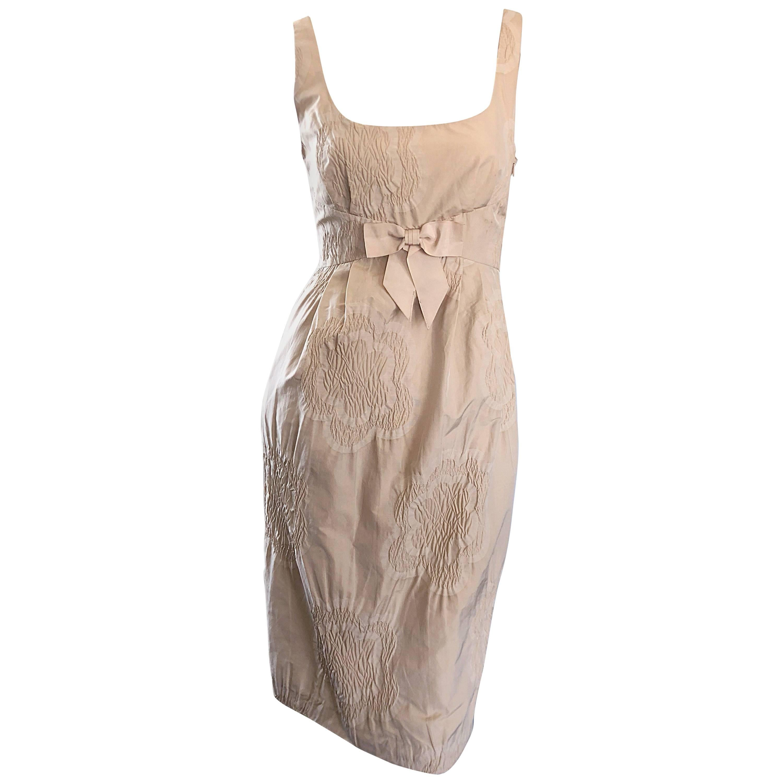 1990s Moschino Cheap & Chic Size 4 Khaki Beige Flower Print Vintage 90s Dress