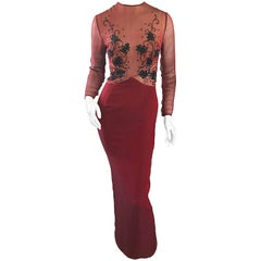 Vintage Givenchy Couture by Alexander McQueen Maroon Silk Chiffon Beaded Gown
