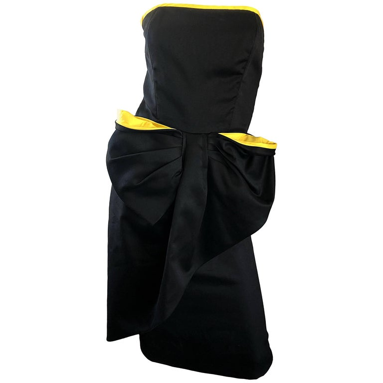 Vintage VIctor Costa Black + Yellow Avant Garde 1980s Strapless Cotton Dress For Sale