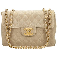Chanel Ivory Jumbo Matelasse Denim Flap Bag