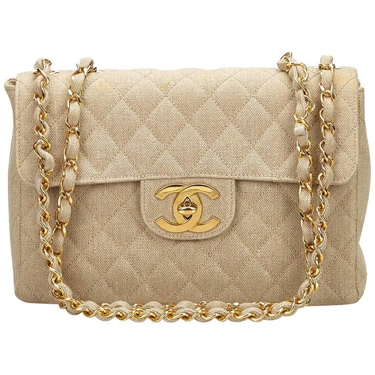 634de3c698069f Chanel Ivory Jumbo Matelasse Denim Flap Bag at 1stdibs