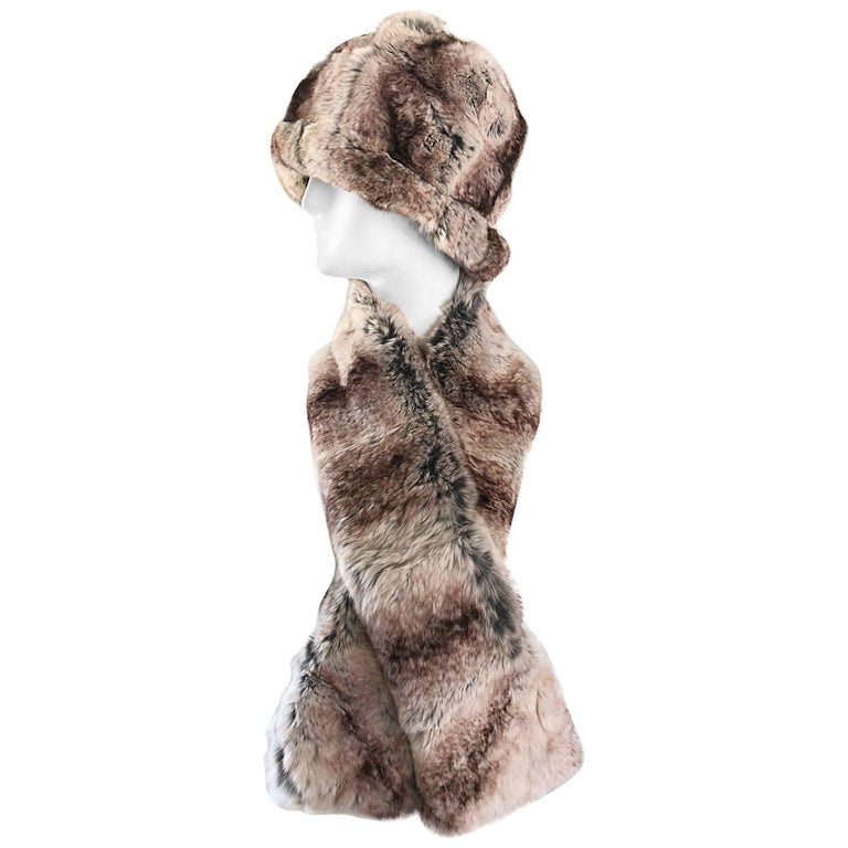 1960s Christian Dior by Marc Bohan Chinchilla Fur 60s Vintage Hat and Scarf For Sale