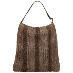 Fendi Gray Wool Hobo Bag