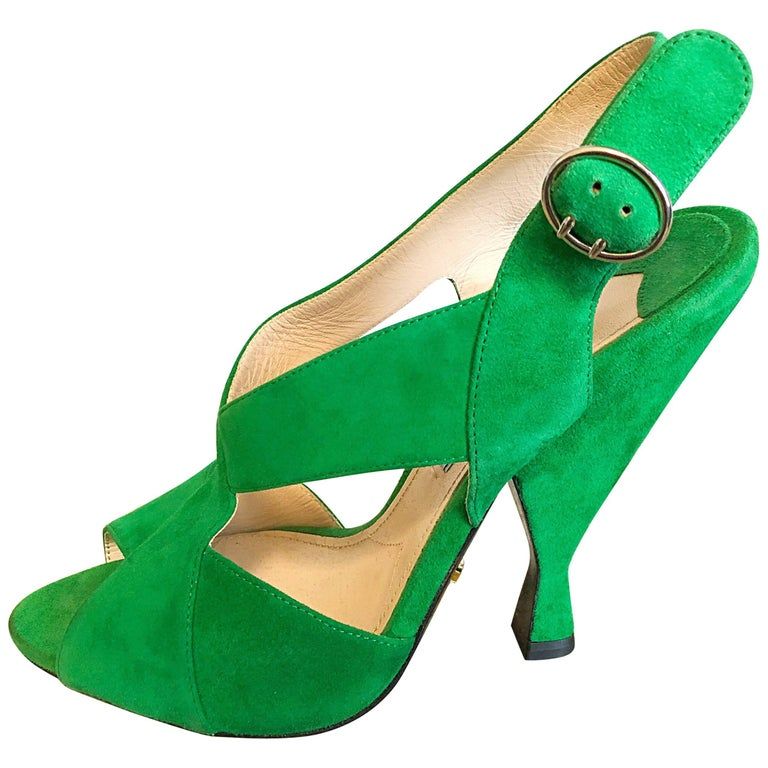 New Prada Size 36.5 / 6.5 Runway Kelly Green Suede Sandal High Heels Shoes For Sale