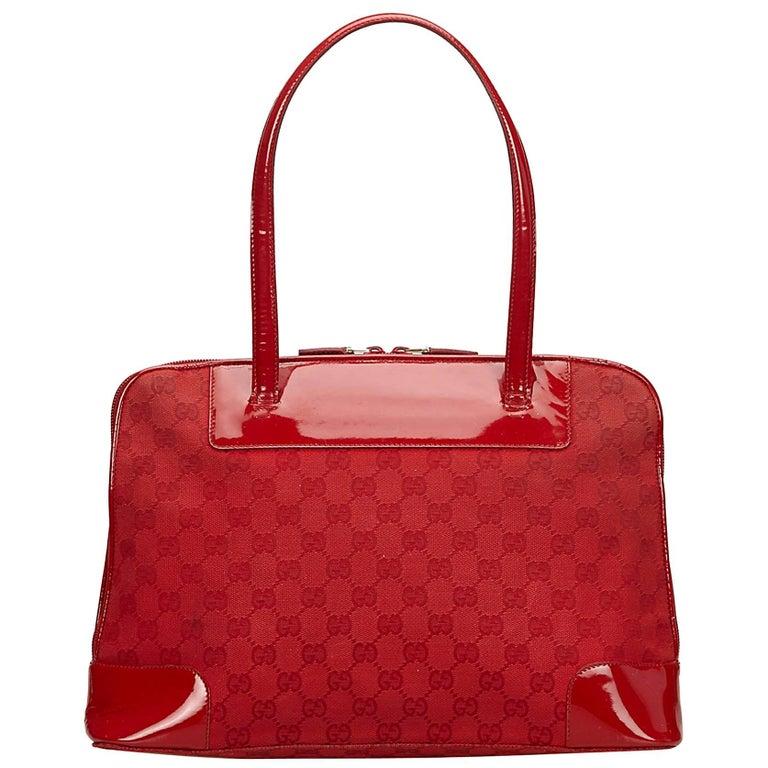 Gucci Red Guccissima Jacquard Handbag