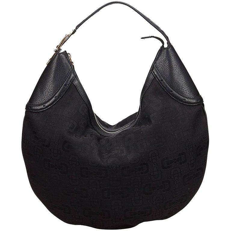 Gucci Black Jacquard Hobo Bag