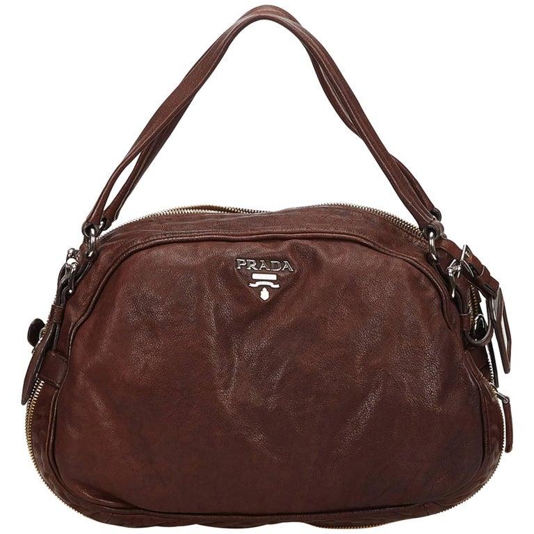 b90b80c173ad Prada Brown Leather Handbag at 1stdibs