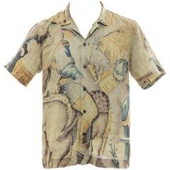 Dries Van Noten Men's Printed Linen Button Front Short Sleeve Shirt, Spring 2017