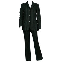 Jean Paul Gaultier Vintage Bi-material Striped Black Wool and Denim Pants Suit
