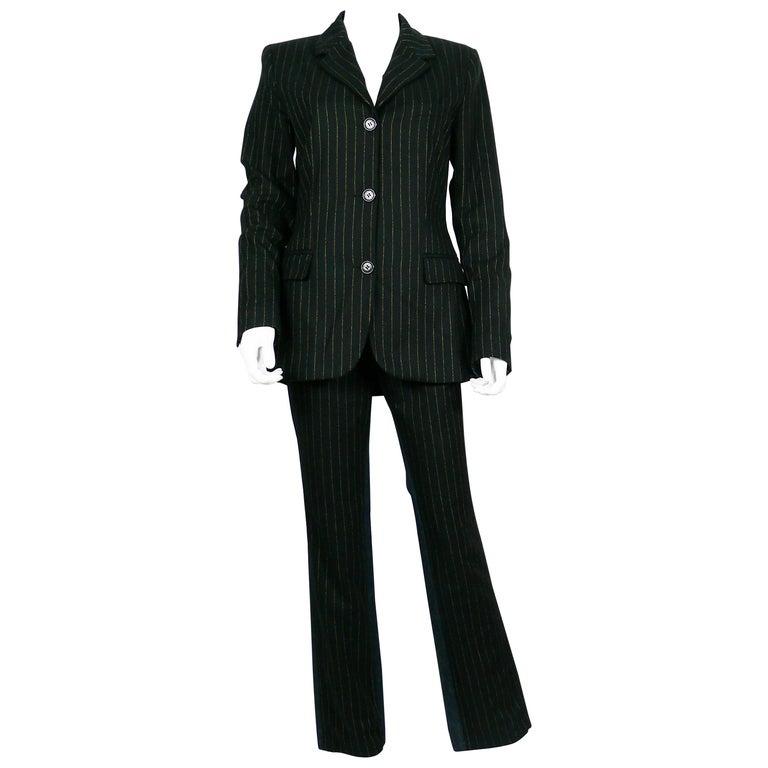 Jean Paul Gaultier Vintage Bi-material Striped Black Wool and Denim Pants Suit