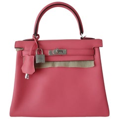 Hermès Veau Swift Rose Azalee Phw 25 cm Full Set Kelly II retourne Handbag