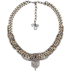 Hobe Gold Tone Link and Clear Rhinestone Vintage Collar Necklace