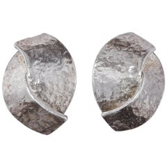 Delphine Nardin Paris Silver Plated Vintage Clip On Earrings