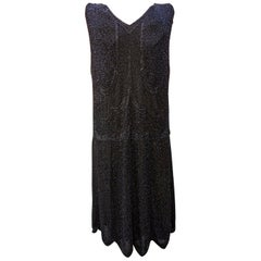 Art Deco 1920s Black Silk and All Over Black Glass Beaded Dress