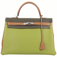 Hermes Kelly Handbag Tricolor Togo with Ruthenium Hardware 35