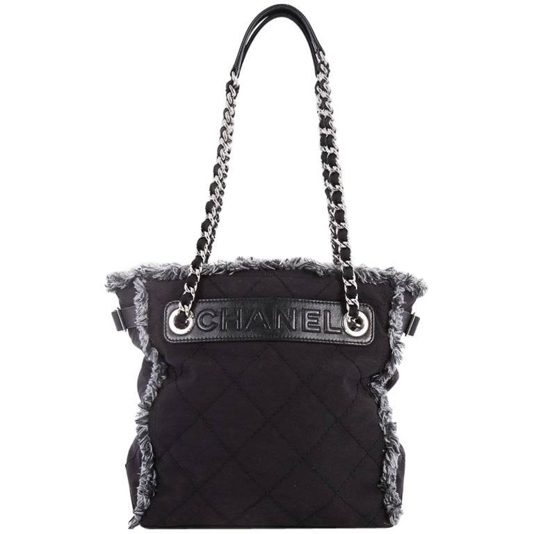 Chanel Logo Chain Tote Quilted Nylon Small