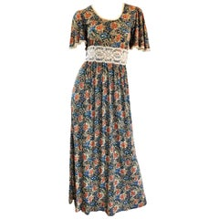 AMazing 1970s Boho Flower Print Jersey + Lace Vintage 70s Maxi Dress