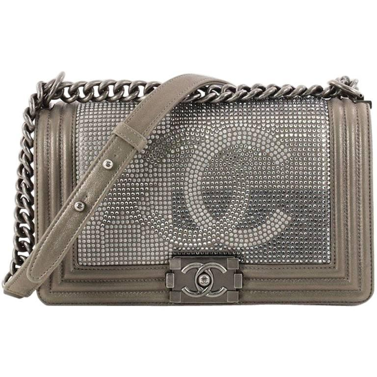 d1fb98f388 Chanel Paris-Dallas Boy Flap Bag Limited Edition Metallized Strass Old  Medium For Sale