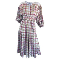 Vintage Diane Freis 1980s Pastel Purple and Pink Plaid 80s Belted Dress