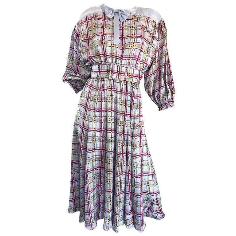 Vintage Diane Freis 1980s Pastel Purple and Pink Plaid 80s Belted Dress For Sale