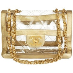1990s Chanel Gold Metallic Lambskin & Transparent PVC Vintage Naked Jumbo XL