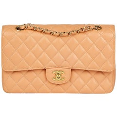 2000s Chanel Peach Quilted Caviar Leather Medium Classic Double Flap Bag