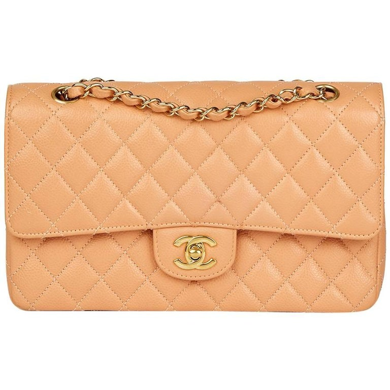 2000s Chanel Peach Quilted Caviar Leather Medium Classic Double Flap Bag For Sale