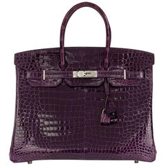 Hermès Amethyst Shiny Porosus Crocodile Leather Birkin 35cm Bag, 2010