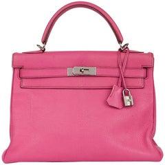 2005 Hermès Rose Shocking Chevre de Coromandel Leather Kelly 32