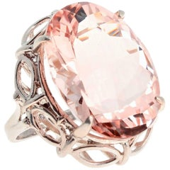 Unique Rare 30 Carat Morganite Sterling Silver Ring