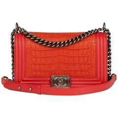 Chanel Red Lambskin and Orange Matte Alligator Leather Medium Le Boy Bag, 2010s