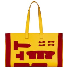 2010 Hermès Soleil Epsom Leather and Rouge H Felt Petit H GM Skeleton Tote