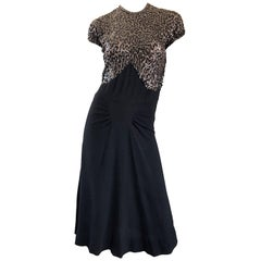 Beautiful 1940s Black Sequin Crepe Vintage 40s Cocktail Dress
