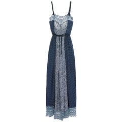 Chloé Lace-Trimmed Printed Cotton Blend Crepe de Chine Maxi Dress