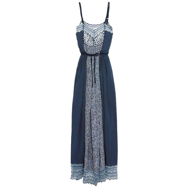Chloé Lace-Trimmed Printed Cotton-Blend Crepe de Chine Maxi Dress