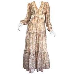 Pretty 1970s Boho Cotton Voile + Lace Flower Print Long Sleeve 70s Maxi Dress