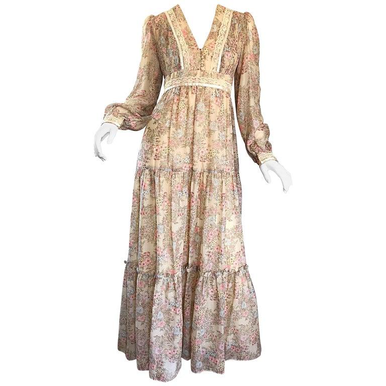 VTG I MAGNIN 70/'s Maxi Dress 25w XS 0 2 cream Boho Floral Bow Tie Oktoberfest yellow