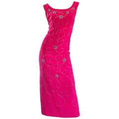 Gorgeous 1960s Hot Pink and Silver Beaded Vintage 60s Crepe Gown Maxi Dress