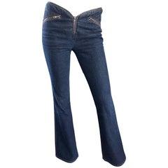 1990s Katayone Adeli Size 6 Low Rise Dark Blue Flare Leg Vintage Denim Blue Jean