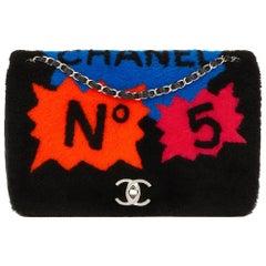 2014 Chanel Black Shearling & Lambskin Jumbo Patchwork Shearling Flap Bag
