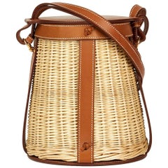 Hermès Barenia Leather and Woven Osier Wicker Picnic Farming Bucket Bag, 2015